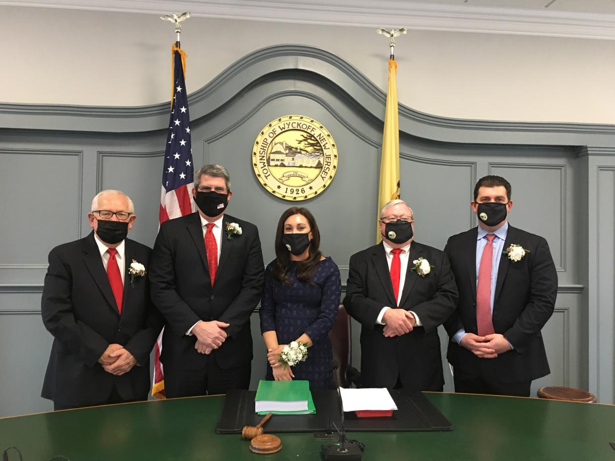 2021 Township Committee members left to right, Rudy Boonstra, Tim Shanley, Melissa Rubenstein, Tom Madigan and Pete Melchionne