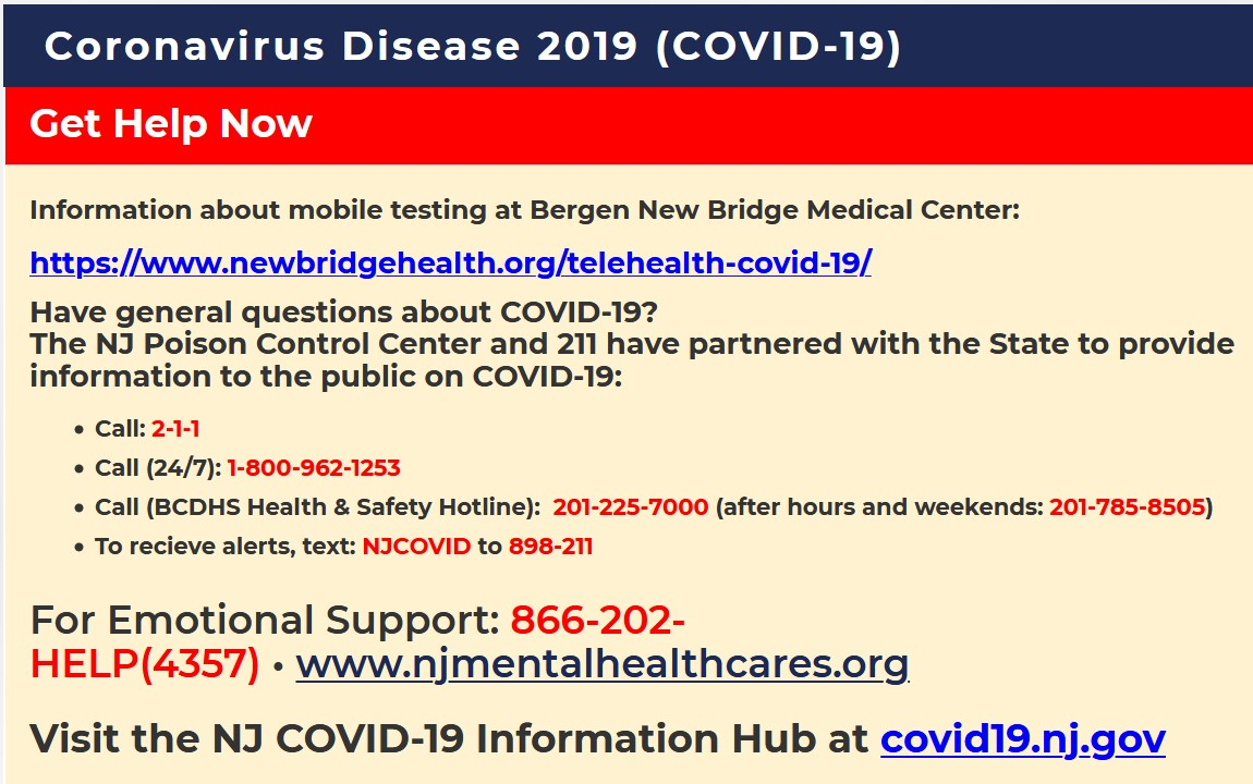 Bergen county Phone numbers for COVID help