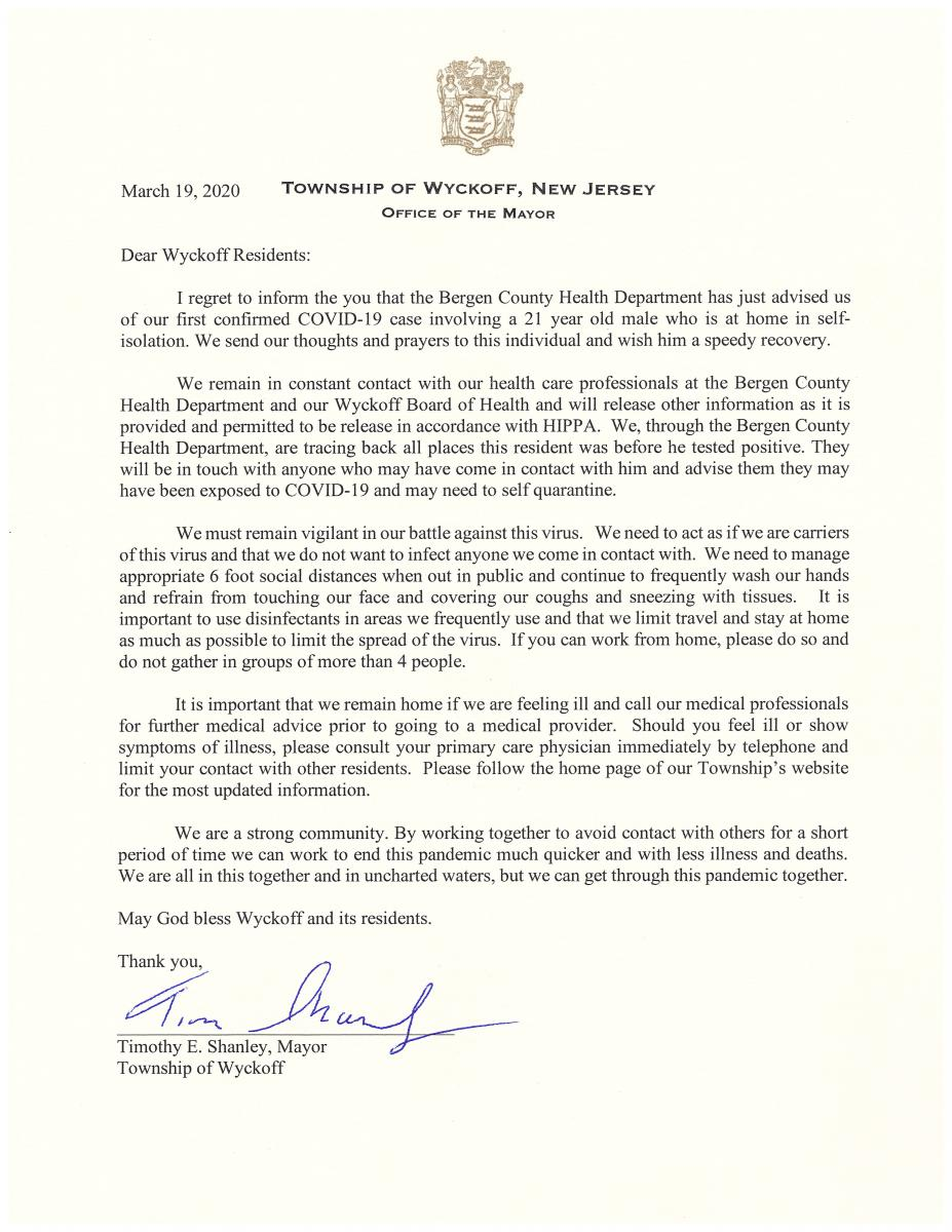 Mayor Letter - First Positive case