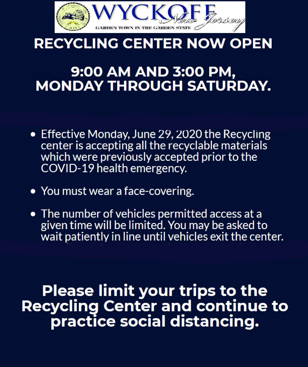 Recycling Center now open 9-3