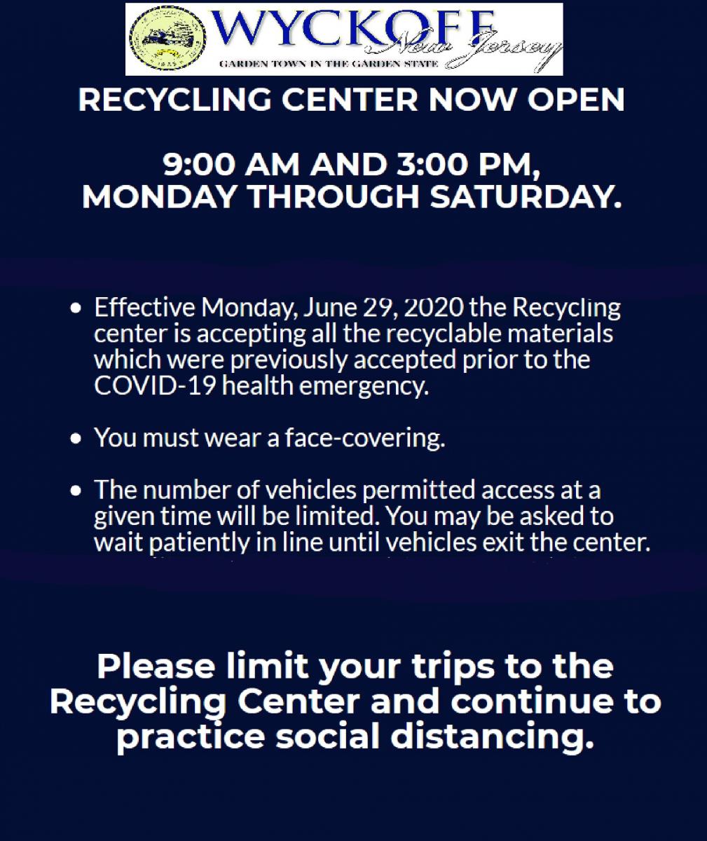 Recycling Center open 9-3