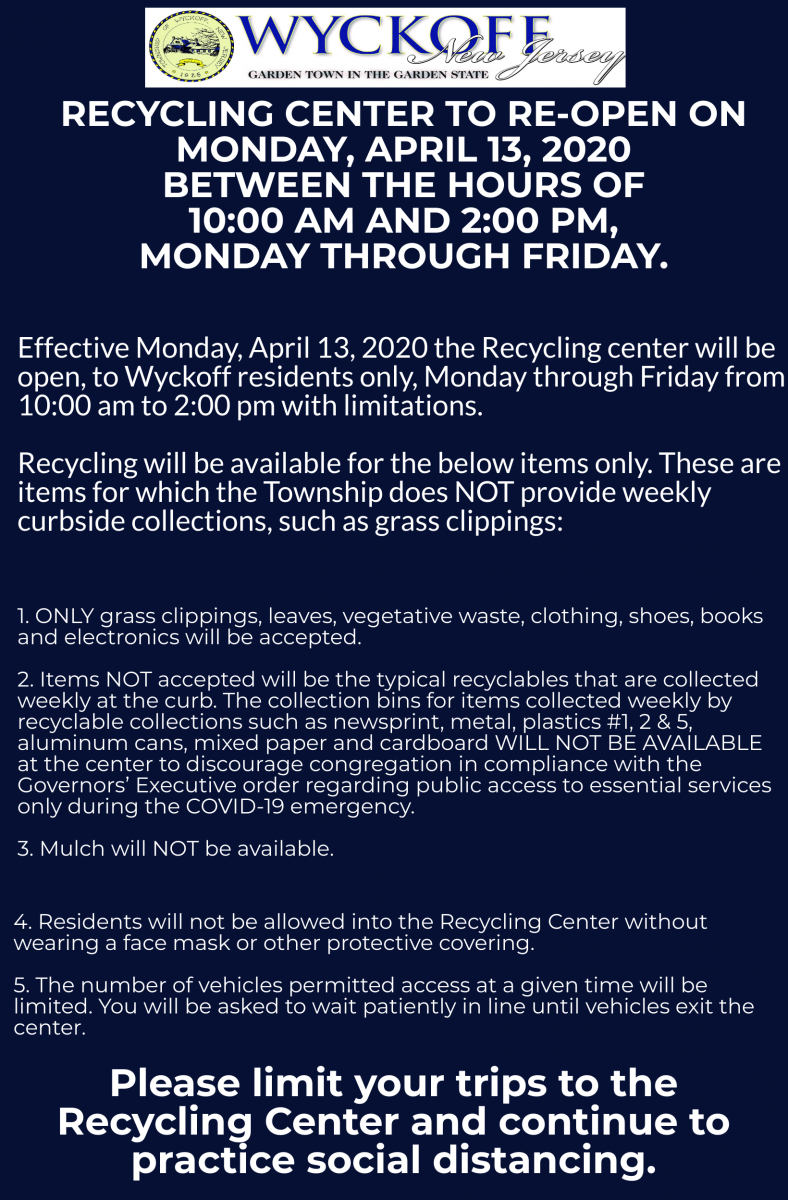 Recycling Center re-opened