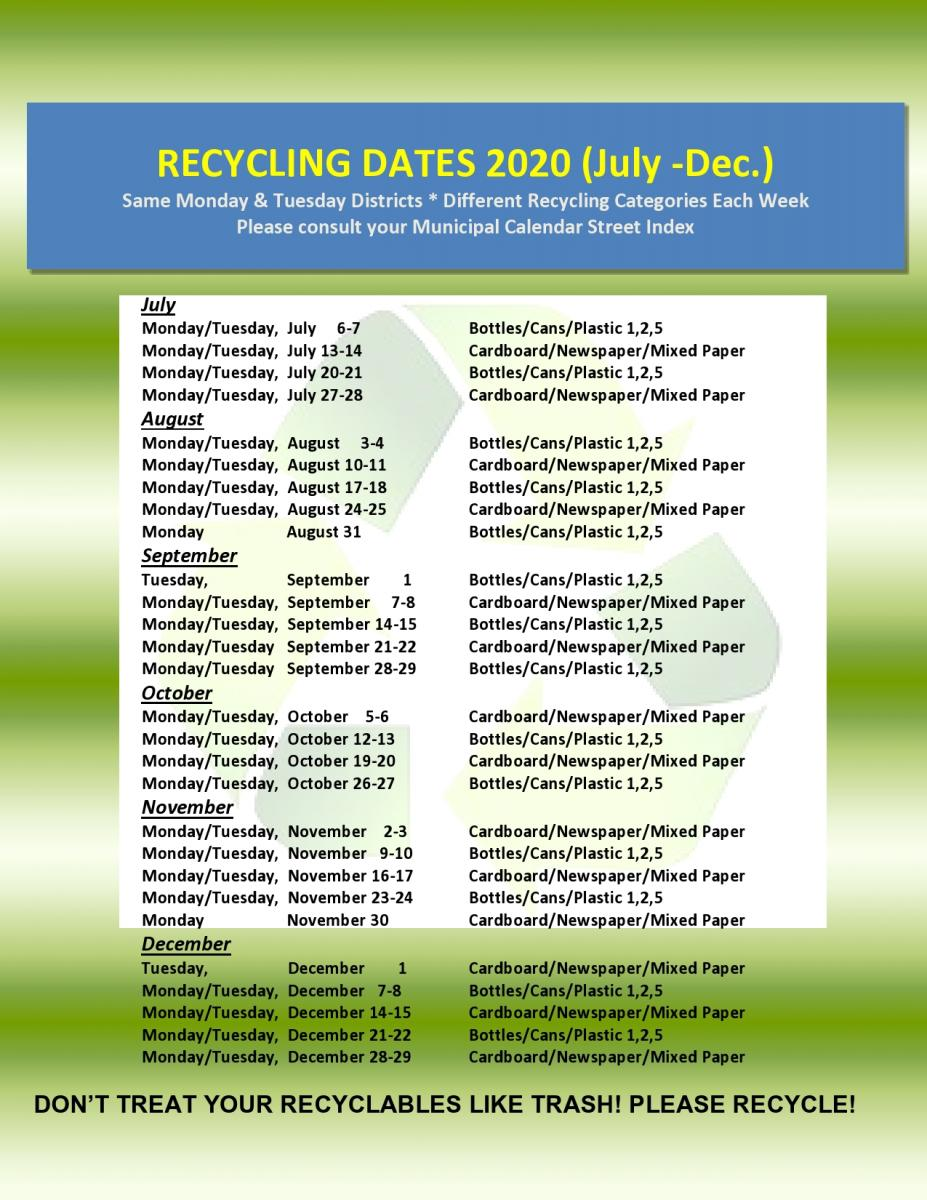 2020 Recycling Schedule 2