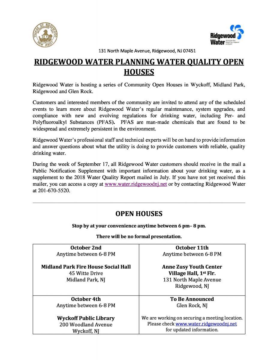 RIDGEWOOD WATER OPEN HOUSE-Wyckoff Library | Wyckoff NJ
