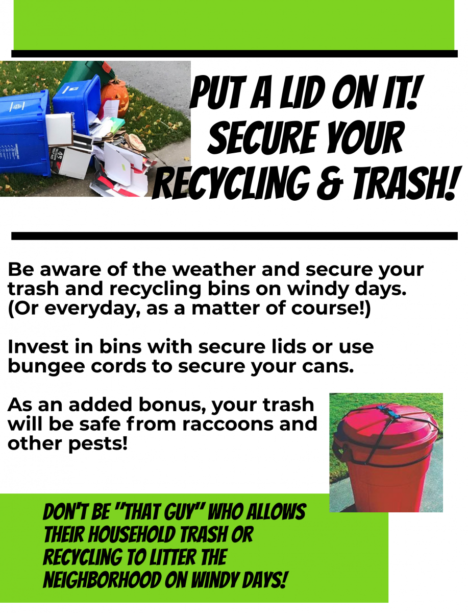 Secure your trash and recycling