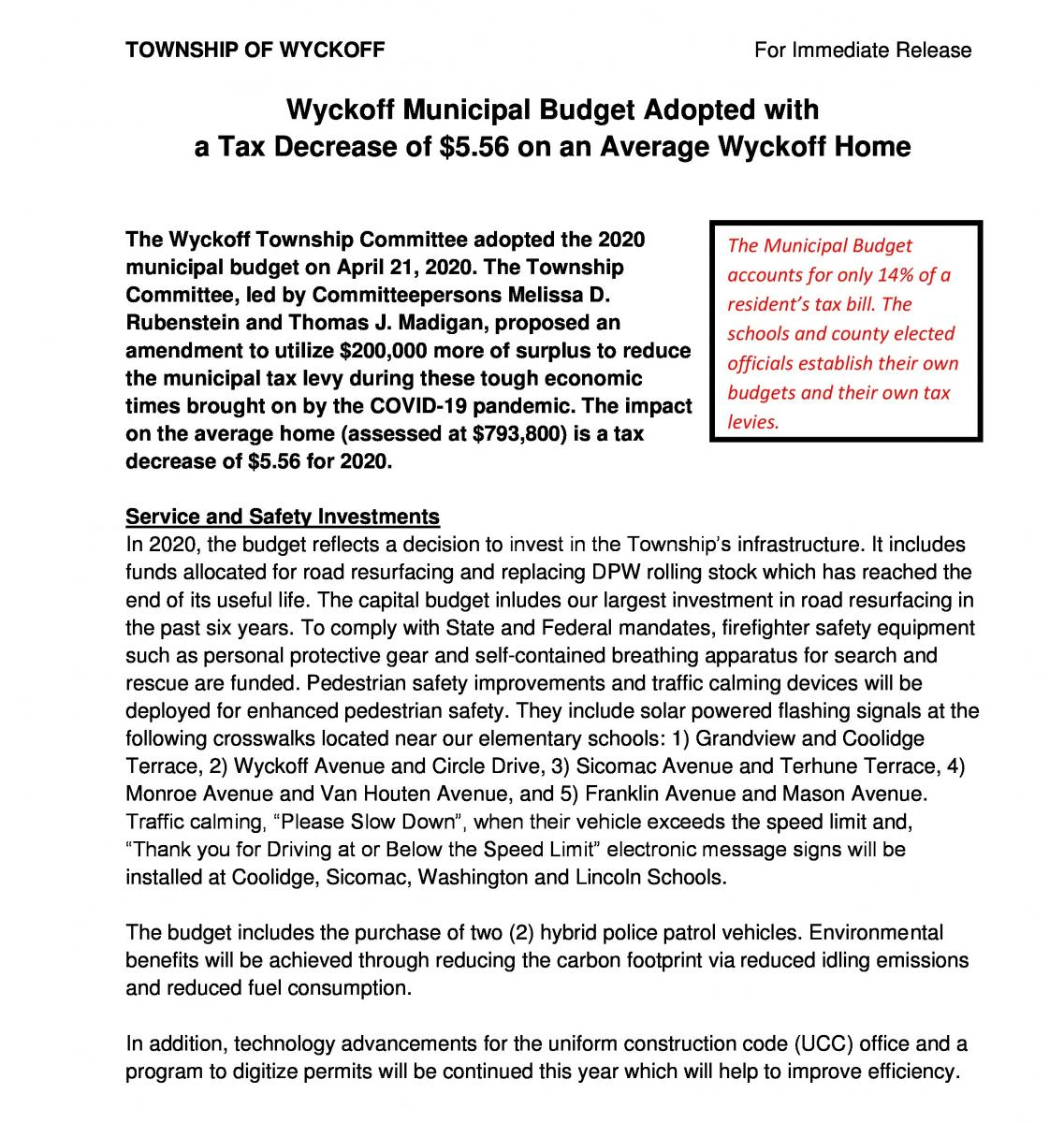 Budget Adopted page 1